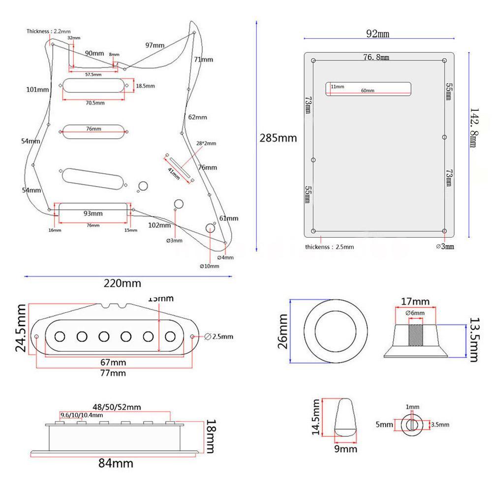 ST Electric Guitar DIY Kit w/ Prewired, Pickguard, , SSS