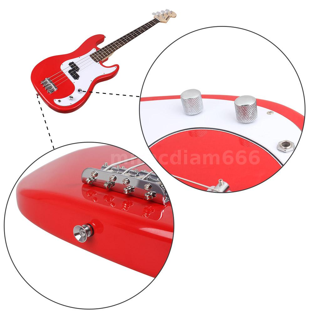 ammoon red full size 4 string electric bass guitar with strap bag amp t9i4 795267840543 ebay. Black Bedroom Furniture Sets. Home Design Ideas