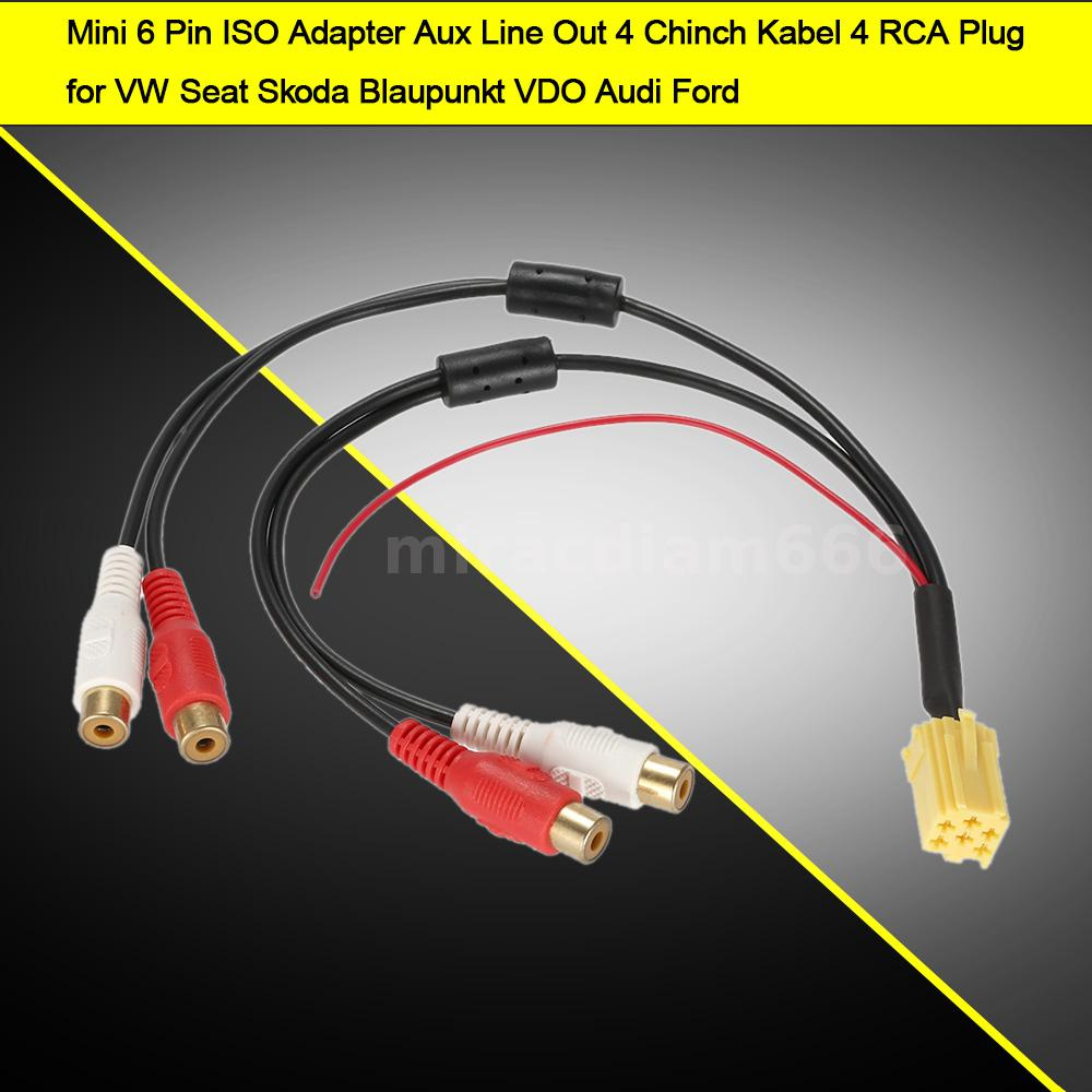 6 Pin ISO Adapter Aux Line Out 4 Chinch Kabel 4 RCA Plug for VW ...