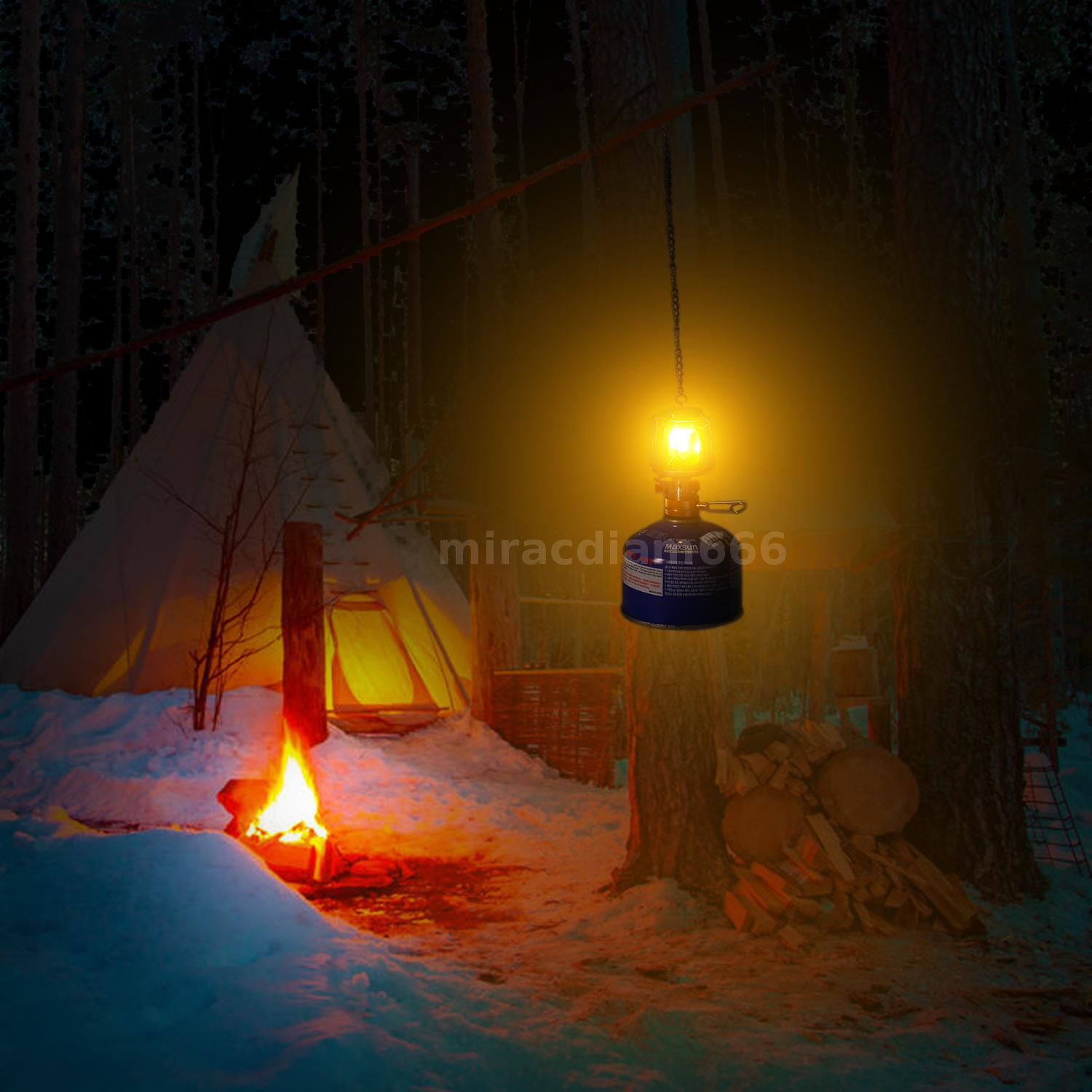 Portable Camping Gas Lantern Light Outdoor Mini Tent Hanging Gas Lamp Torch N3S1